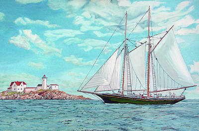 New England Lighthouse Painting - Thomas E. Lannon by Laurence Dahlmer