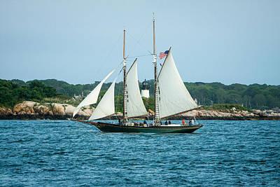 New England Ocean Photograph - Thomas E. Lannon Sailing Past Ten Pound Lighthouse by Jeff Folger