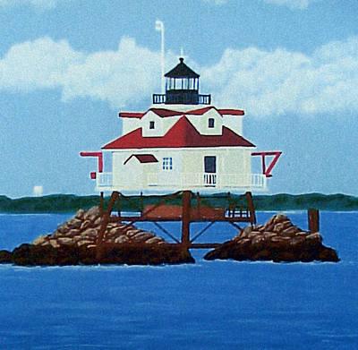 Historic Lighthouse Images Painting - Thomas Point Shoal Lighthouse by Frederic Kohli