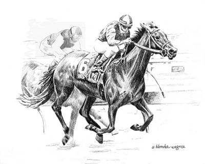 Jockey Drawing - Thoroughbred Best Pal by Arline Wagner