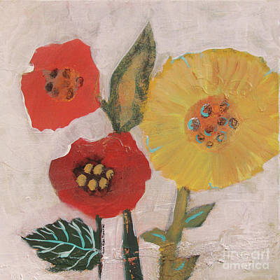 Painting - Three Awkward Flower Blossoms by Robin Maria Pedrero