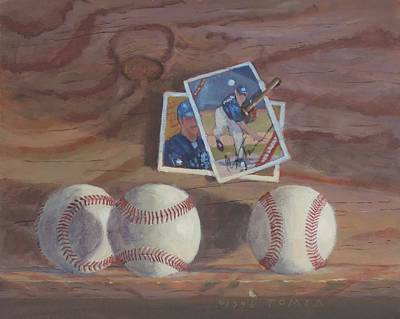 Baseball Card Painting - Three Balls by Bill Tomsa