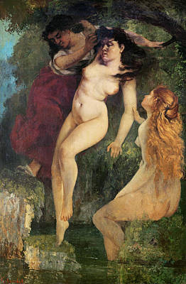 Auburn Painting - Three Bathers by Gustave Courbet