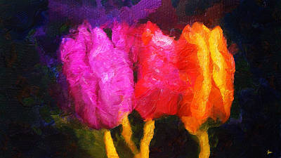 Three Beauties In Spring - Forever Young - Painting Original by Sir Josef Social Critic - ART