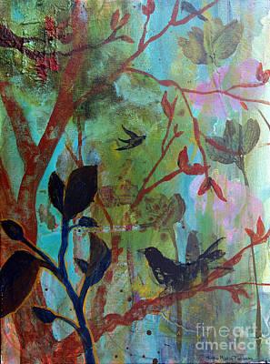 Black Bird.flying Art Painting - Three Birds Amongst Trees by Robin Maria Pedrero