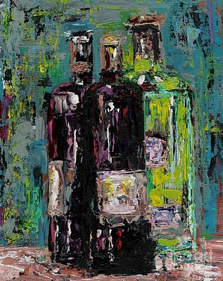 Bottle Of Wine Painting - Three Bottles Of Wine by Frances Marino