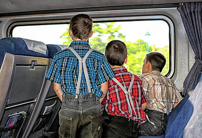 Three Boys On A Train Print by Eclectic Art Photos