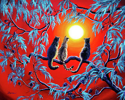 Gray Tabby Painting - Three Cats In A Bright Red Sunset by Laura Iverson