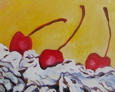 Painting - Three Cherries by Tilly Strauss