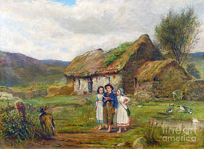Scottish Dog Painting - Three Children And A Dog Beside A Scottish Croft by Carlton Alfred Smith