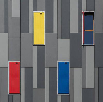 Grid Photograph - Three Colors And A Window by Jef Van Den