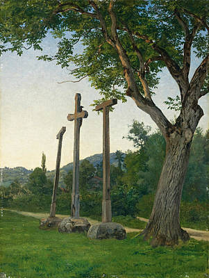 Robert Zuend Painting - Three Crosses Along A Country Lane by Robert Zuend