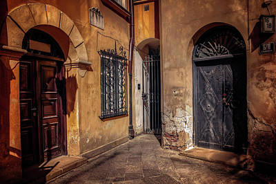 Three Doors In Warsaw Print by Carol Japp