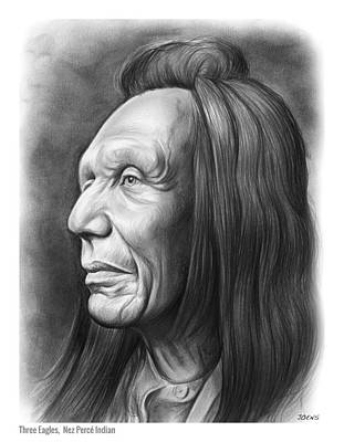 Indian Chief Drawing - Three Eagles by Greg Joens