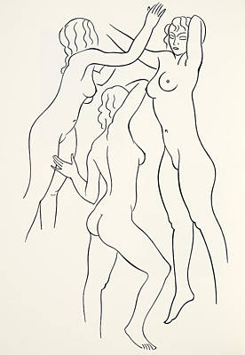 Gay Fantasy Drawing - Three Female Nudes by Eric Gill