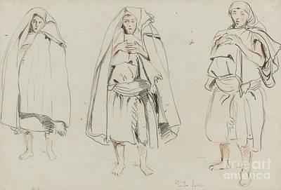 Three Figures Print by Eugene Delacroix