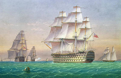 Water Vessels Painting - Three First Rate Ships Of The Line Entering Portsmouth Harbor by William and John Joy