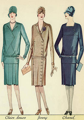 Fashion Painting - Three Flappers Modelling French Designer Outfits, 1928 by American School