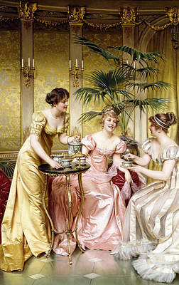 Tea Set Painting - Three For Tea by Joseph Frederic Charles Soulacroix