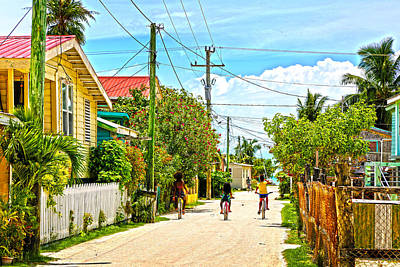 Belize Photograph - Three Girls Caye Caulker Belize by Lee Vanderwalker