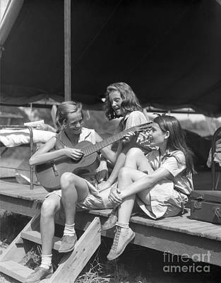Three Girls Singing At Camp, C.1930s Print by H. Armstrong Roberts/ClassicStock