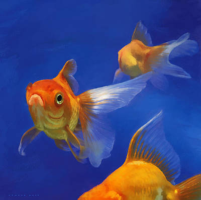Goldfish Digital Art - Three Goldfish by Simon Sturge