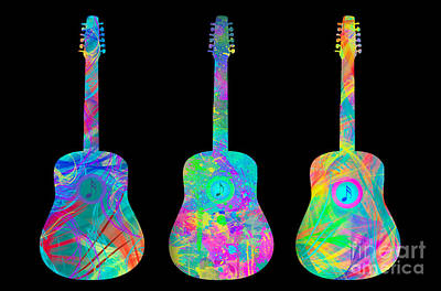 Fine Art Digital Art - Psychedelic Guitars by Tod and Cynthia Grubbs