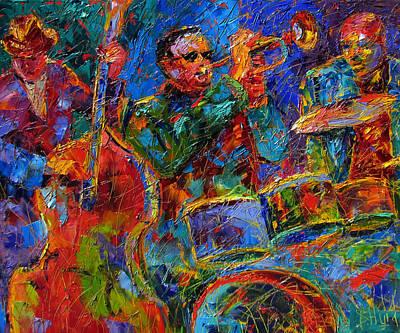 Trumpet Painting - Three Guys Jazzin' by Debra Hurd