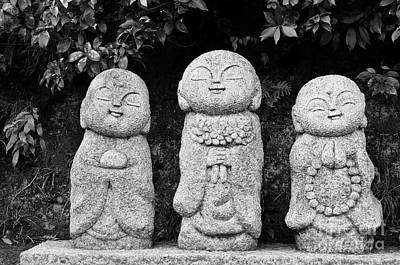 Black And White Photograph - Three Happy Buddhas by Dean Harte