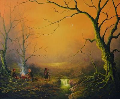 Three Hobbits A Fox And Supper Original by Joe  Gilronan