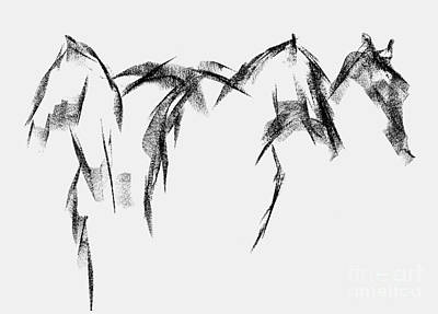 Three Horse Sketch Print by Frances Marino