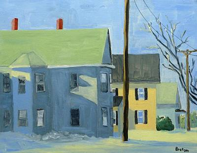 Maine Winter Painting - Three Houses Auburn by Laurie Breton