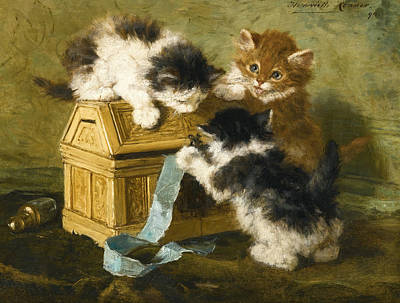 Henriette Ronner-knip Painting - Three Kittens With A Casket And Blue Ribbon by Henriette Ronner-Knip