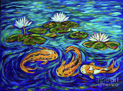 Linda Olsen Painting - Three Koi And Lilies by Linda Olsen