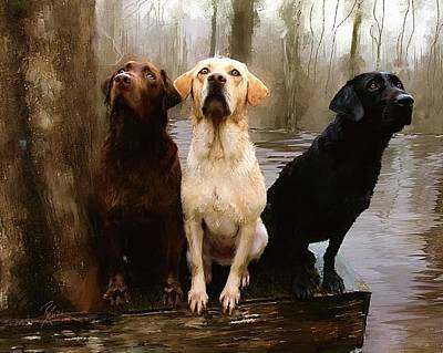 Cypress Swamp Painting - Three Labs by Robert Smith