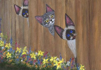 Gray Tabby Painting - Three Little Kitties by Jamie Frier