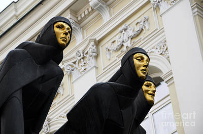 Vilnius Photograph - Three Muses On The Lithuanian National Dramatic Theatre In Vilnius by RicardMN Photography