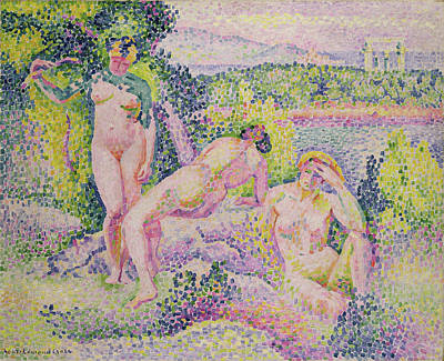 Three Nudes Print by Henri Edmond Cross