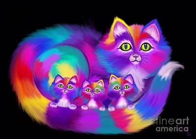 Kitty Digital Art - Three Of A Kind Kitties  by Nick Gustafson