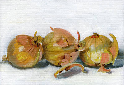 Food Painting - Three Onions by Sarah Lynch