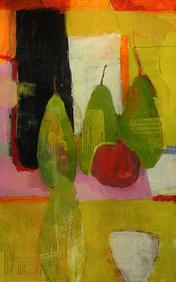Pear Mixed Media - Three Or Four Pears by Laurie Breen