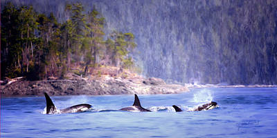 Orca Digital Art - Three Orca Whales by Jeanette Mahoney
