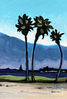 Tree Painting - Three Palm Trees by Elizabeth Robinette Tyndall