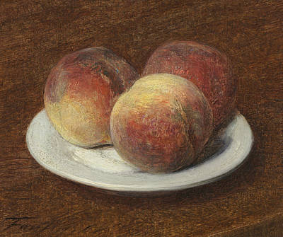 Three Peaches On A Plate Print by Ignace Henri Jean Fantin-Latour