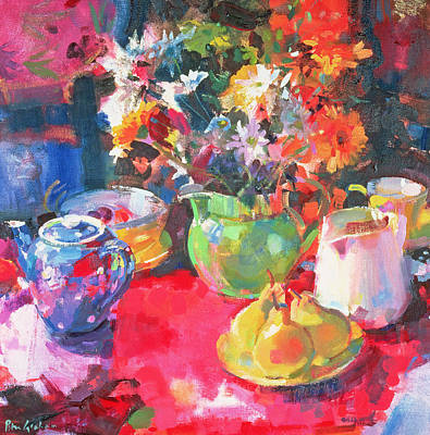 Teapot Painting - Three Pears by Peter Graham