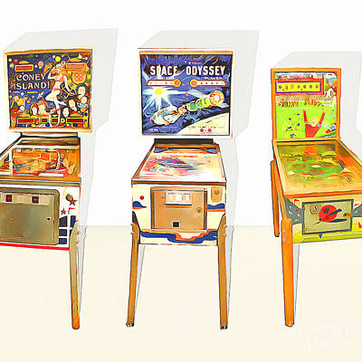 Three Pinball Machines 20160226 Square Print by Wingsdomain Art and Photography