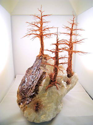 Different Stuff Sculpture - Three Pines On Crystal by Judy Byington