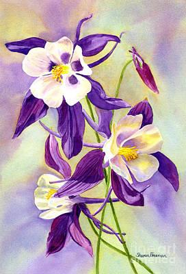 Blooming Painting - Three Purple Columbine Blossoms by Sharon Freeman