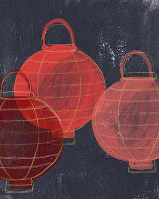 Three Red Lanterns- Art By Linda Woods Print by Linda Woods