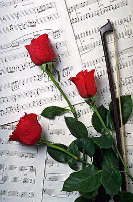 Sheet Music Photograph - Three Red Roses  by Garry Gay